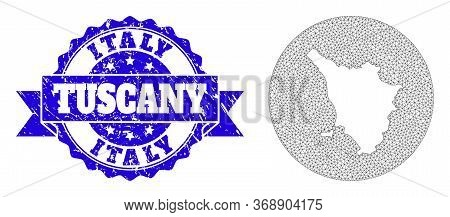 Mesh Vector Map Of Tuscany Region With Grunge Watermark. Triangular Mesh Map Of Tuscany Region Is A