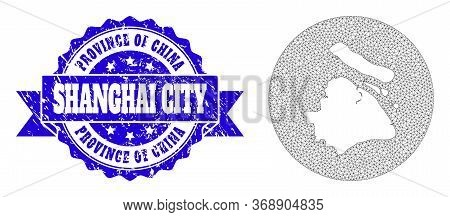 Mesh Vector Map Of Shanghai Municipality With Scratched Watermark. Triangle Mesh Map Of Shanghai Mun