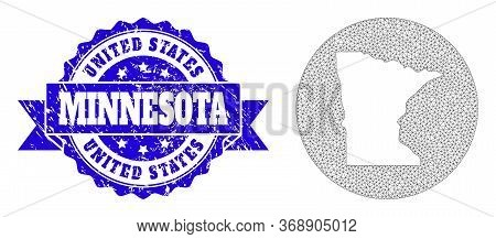 Mesh Vector Map Of Minnesota State With Grunge Seal Stamp. Triangular Mesh Map Of Minnesota State Is