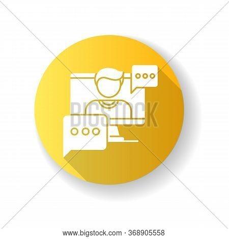 Interview Video Yellow Flat Design Long Shadow Glyph Icon. Journalist Footage. Video Call Conversati