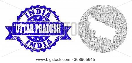 Mesh Vector Map Of Uttar Pradesh State With Grunge Stamp. Triangle Mesh Map Of Uttar Pradesh State I