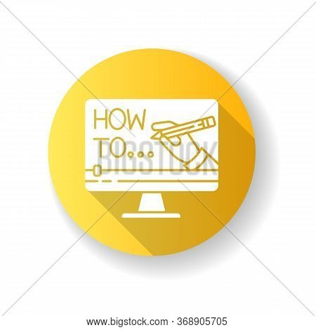 Explainer Video Yellow Flat Design Long Shadow Glyph Icon. Internet Course Watching. Online Teaching