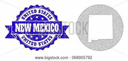 Mesh Vector Map Of New Mexico State With Grunge Stamp. Triangular Mesh Map Of New Mexico State Is Cu