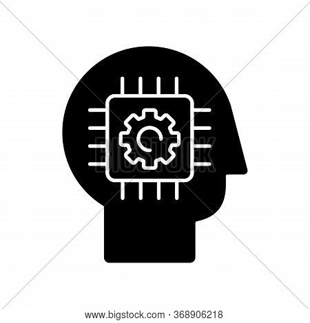 Cybernetics Black Glyph Icon. Futuristic Science, Innovative Technology. Artificial Intelligence, Ne
