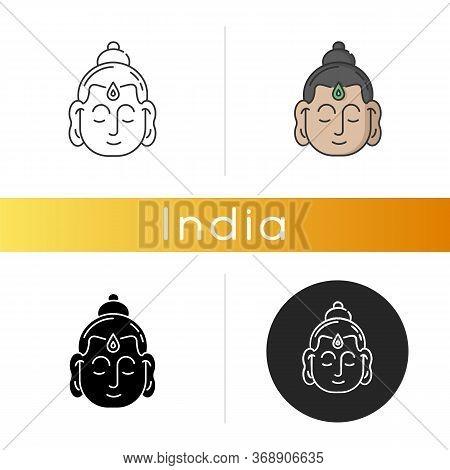 Gautama Buddha Icon. Indian Philosopher. Religious Leader. Founder Of Buddhism. Meditator And Spirit