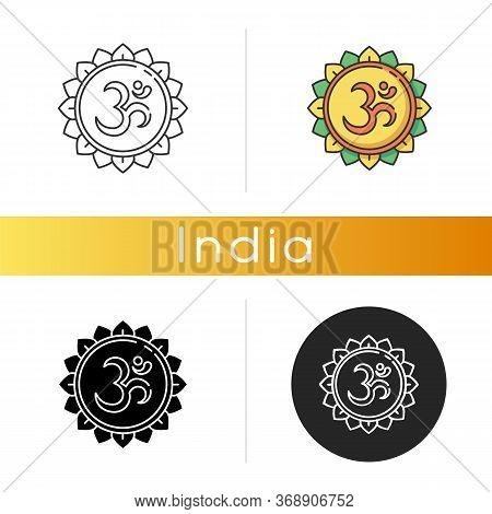 Om Icon. Aum Visual Representation. Sacred Syllable. Sound Of Universe. Spiritual Symbol In Hinduism