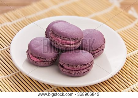 Tasty Fresh Delicious Macaroons On A Plate
