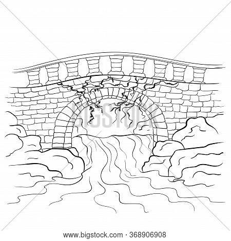 Stone Bridge Landscape Sketch. Bridge Over River. Line Art Vector Illustration Isolated On White Bac