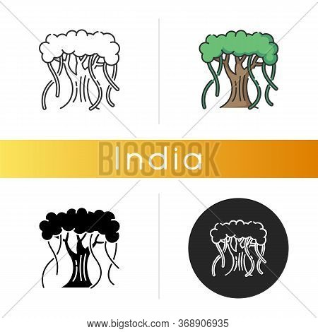 Indian Banyan Icon. National Indian Evergreen Tree With Wide Crown. Symbol Of Eternal Life And Unity