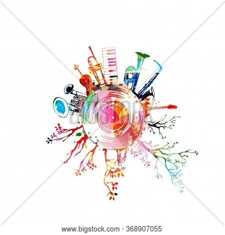 Music Background With Colorful Music Instruments And Vinyl Record Disc Vector Illustration. Music Fe