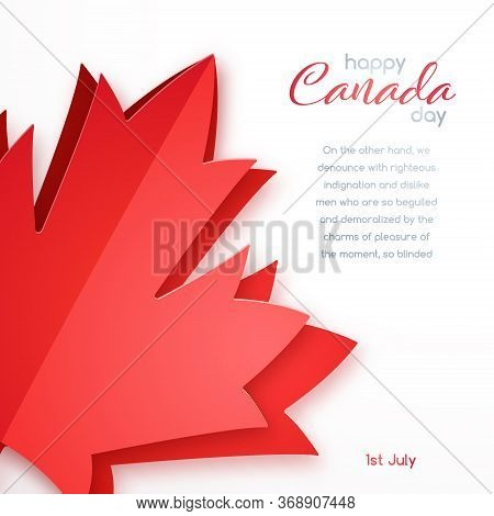 Happy Canada Day Vector Design. Greeting Card With Red Canada Maple Leaf In Paper Art Style. 1th Of