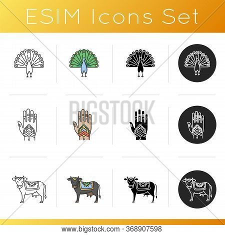 Indian Culture Icons Set. Peacock. Peafowl With Spread Feathers. Mehndi. Body Art. Henna Drawings. H