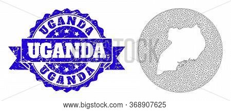 Mesh Vector Map Of Uganda With Grunge Stamp. Triangle Mesh Map Of Uganda Is Stencils In A Circle. Bl
