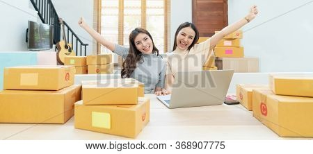 Young Asian Women Happy After New Order From Customer. Surprise And Shock Face Of Asian Woman Succes