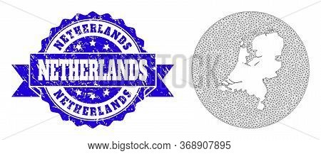 Mesh Vector Map Of Netherlands With Grunge Seal. Triangular Mesh Map Of Netherlands Is Subtracted Fr