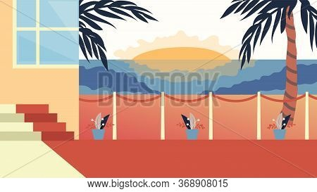 Concept Of Summer Vacations. Beautiful Sunset View Of Modern Villa With Palms On The Beach. Sea Shor