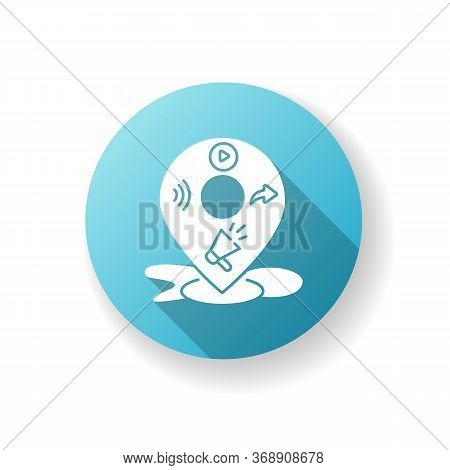 Local Mass Media Blue Flat Design Long Shadow Glyph Icon. Broadcast Promotion. E Commerce Strategy.