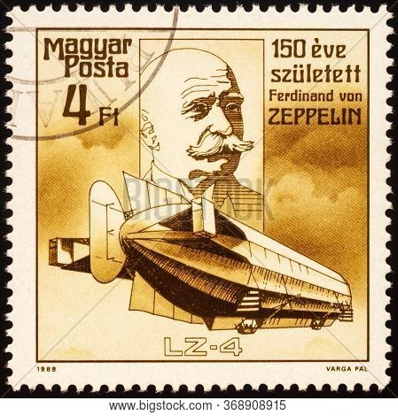 Moscow, Russia - May 30, 2020: Stamp Printed In Hungary Shows Portrait Of Ferdinand Graf Von Zeppeli
