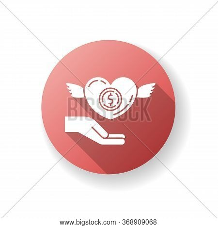 Participation In Charity Red Flat Design Long Shadow Glyph Icon. Donate To Foundation. Humanitarian