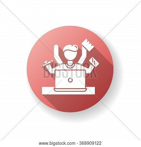 Multitasking Red Flat Design Long Shadow Glyph Icon. Work Overload. Efficiency In Management. Produc