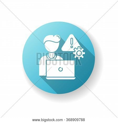 Crisis Management Blue Flat Design Long Shadow Glyph Icon. Danger Control. Evaluate Dangerous Situat