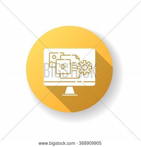 Content Manager Yellow Flat Design Long Shadow Glyph Icon. Pr Strategy. Blogging To Promote Brand. W