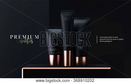 Luxury Cosmetic Tubes Package Skin Care Cream. Face Mask, Beauty Cosmetic Product Poster, Banner Or