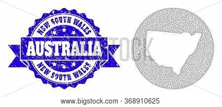 Mesh Vector Map Of New South Wales With Grunge Watermark. Triangle Mesh Map Of New South Wales Is Ca