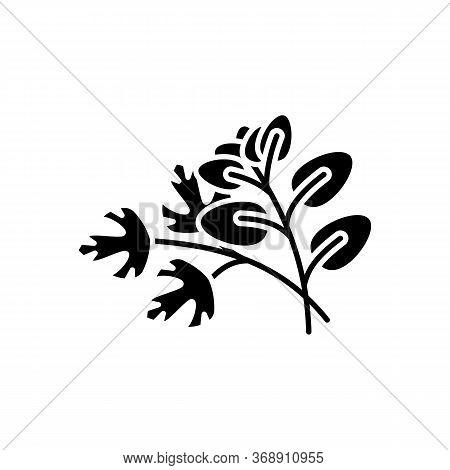 Fresh Herbs Black Glyph Icon. Scented Fresh Vegetable. Italian Nutrient Condiment. Dressing For Flav