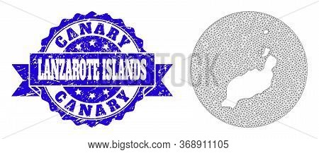 Mesh Vector Map Of Lanzarote Islands With Grunge Seal. Triangle Mesh Map Of Lanzarote Islands Is Car