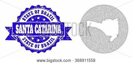 Mesh Vector Map Of Santa Catarina State With Grunge Seal Stamp. Triangular Net Map Of Santa Catarina