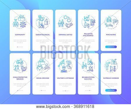 Social Worker Onboarding Mobile App Page Screen Set With Concepts. Public Worker. Welfare Organisati