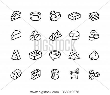 Cheese Line Icons. Sour Dairy Products, Mozzarella Parmesan Ricotta Cheddar And Blue Cheese. Vector