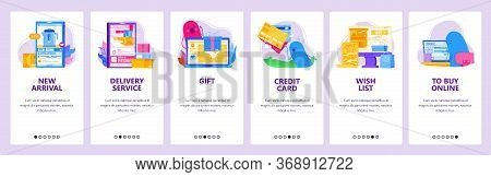 Online Shopping Concept Icon Set. Delivery, Order Online, Pay By Credit Card, Wish List. Mobile App