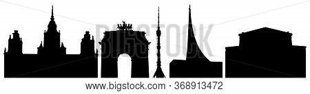Silhouettes Of Moscow Buildings In Russia, University, Triumphal Gate, Tower In Ostankino, Cosmonaut