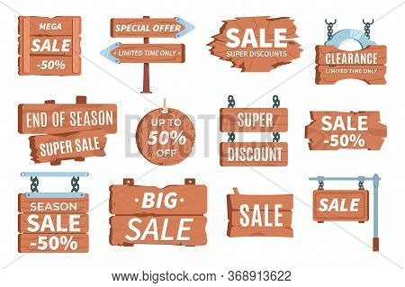 Wood Price Signboards. Pricing Information Cartoon Rustic Symbol. Vector Wooden Signboard Sale, Vint