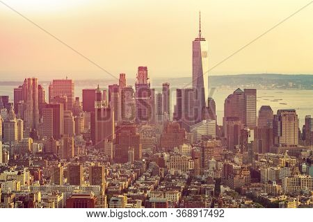 New York City With Skyscrapers At Sunset. Skyline Of Manhattan In New York City, United States. Aeri