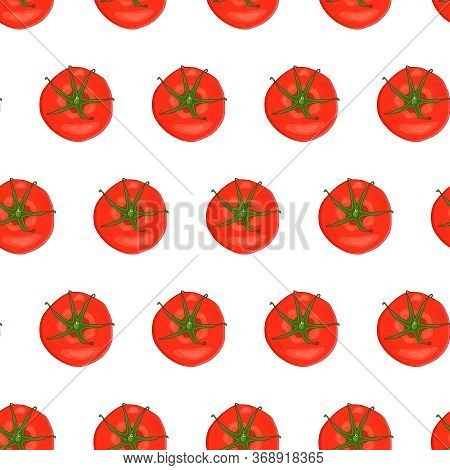 Tomatoes Seamless Pattern Isolated On White Background. Backdrop With Fresh Cherry Tomatoes. Bright
