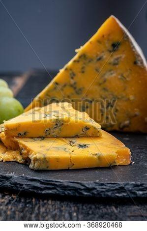 British Matured Yellow Cheese Blue Shropshire, Close Up