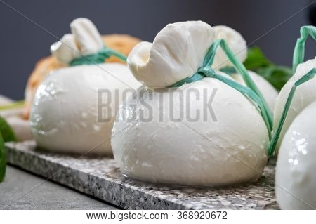Cheese Collection, Fresh Soft Italian Cheese From Puglia, White Balls Of Burrata Or Burratina Cheese