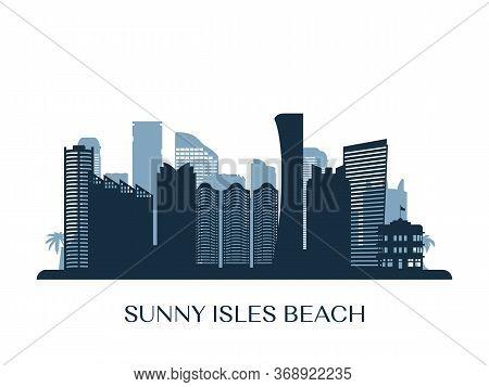 Sunny Isles Beach Skyline, Monochrome Silhouette. Vector Illustration.