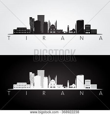 Tirana Skyline And Landmarks Silhouette, Black And White Design, Vector Illustration.