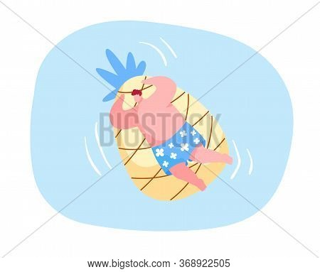 Funny Male Character Floating On Inflatable Mattress In Shape Of Pineapple Enjoying Summer Time Vaca
