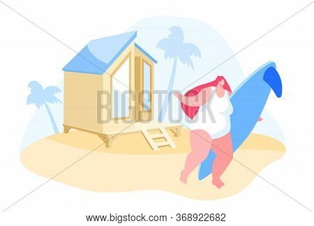 Young Girl Character With Surf Board In Hands Stand On Sandy Beach Under Palm Tree On Resort Lodge B