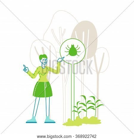 Female Character Stand At Warning Sign With Mite Image On Forest Background With Trees. Girl Tourist