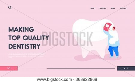 Stomatologist Work Landing Page Template. Tiny Dentist Doctor Character Care Of Huge Tooth Examine X