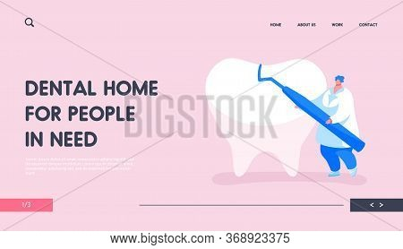 Stomatology Clinic Service Landing Page Template. Tiny Dentist Doctor Character Carry Carver Stomato
