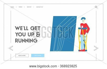 Healthcare Disability, Medicine Therapy Landing Page Template. Invalid Handicapped Man Character Sta