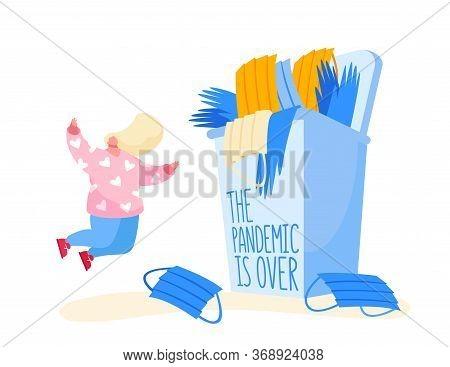 Coronavirus Quarantine End Concept. Happy Female Character Throw In Air Useless Medical Mask Celebra