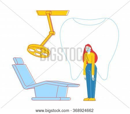 Woman Patient Character With Bandaged Face And Tooth Pain At Medical Stomatologist Cabinet With Equi